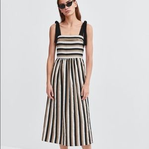 Zara Tricolor Striped Midi Dress
